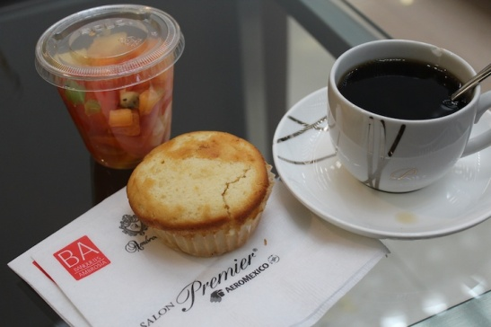 Nice way to start the day, with Café Punta del Cielo, fruit, and a muffin.