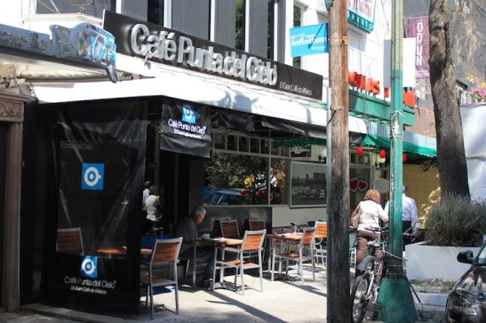 Cafe Punta del Cielo's Condesa (Michoacan) location, next to Krispy Kreme. (Photo: Darren Popik)