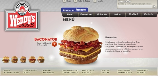 The Baconator, as advertised on Wendy's Mexican website.