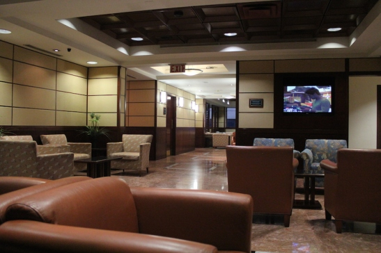 A quiet morning in the Admirals Club. (Photo: Darren Popik)